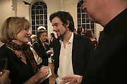 Sue Crewe and Henry Hemming, Misadventure In the Middle East. Travels As a Tramp, Artist and Spy by Henry Hemming. Book launch and exhibition. Paradise Row. London. E2.  -DO NOT ARCHIVE-© Copyright Photograph by Dafydd Jones. 248 Clapham Rd. London SW9 0PZ. Tel 0207 820 0771. www.dafjones.com.