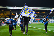 A Leeds United mascot flies a Leeds flag before kick-off during the EFL Sky Bet Championship match between Leeds United and West Bromwich Albion at Elland Road, Leeds, England on 1 March 2019.