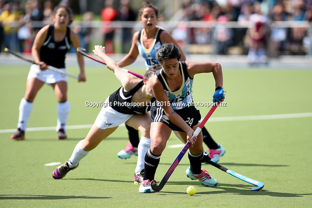 Argentina player Pilar Romang during their 2015 South Island Tour game between the New Zealand Black Sticks Women v Argentina. College Park, Blenheim, New Zealand. Sunday 4 October 2015. Copyright Photo: Chris Symes / www.photosport.nz