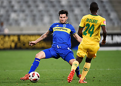 Cape Town-180818 Cape Town City midfielder Roland Putsche challenged  by Thabo  Molefe  of Golden Arrows in a PSL match at Cape Town Stadium .photograph:Phando Jikelo/African News Agency/ANA