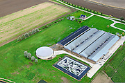 Nederland, Noord-Brabant, Ossendrecht, 23-10-2013;<br /> Hinkelenoorddijk, megastallen voor grootschalige productie van vlees.<br /> Mega stables for large-scale production of meat.<br /> luchtfoto (toeslag op standaard tarieven);<br /> aerial photo (additional fee required);<br /> copyright foto/photo Siebe Swart.