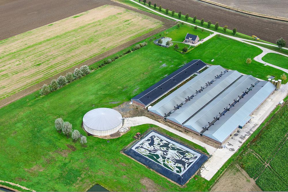 Nederland, Noord-Brabant, Ossendrecht, 23-10-2013;<br /> Hinkelenoorddijk, megastallen voor grootschalige productie van vlees.<br /> Mega stables for large-scale production of meat.<br /> luchtfoto (toeslag op standaard tarieven);<br /> aerial photo (additional fee required);<br /> copyright foto/photo Siebe Swart.