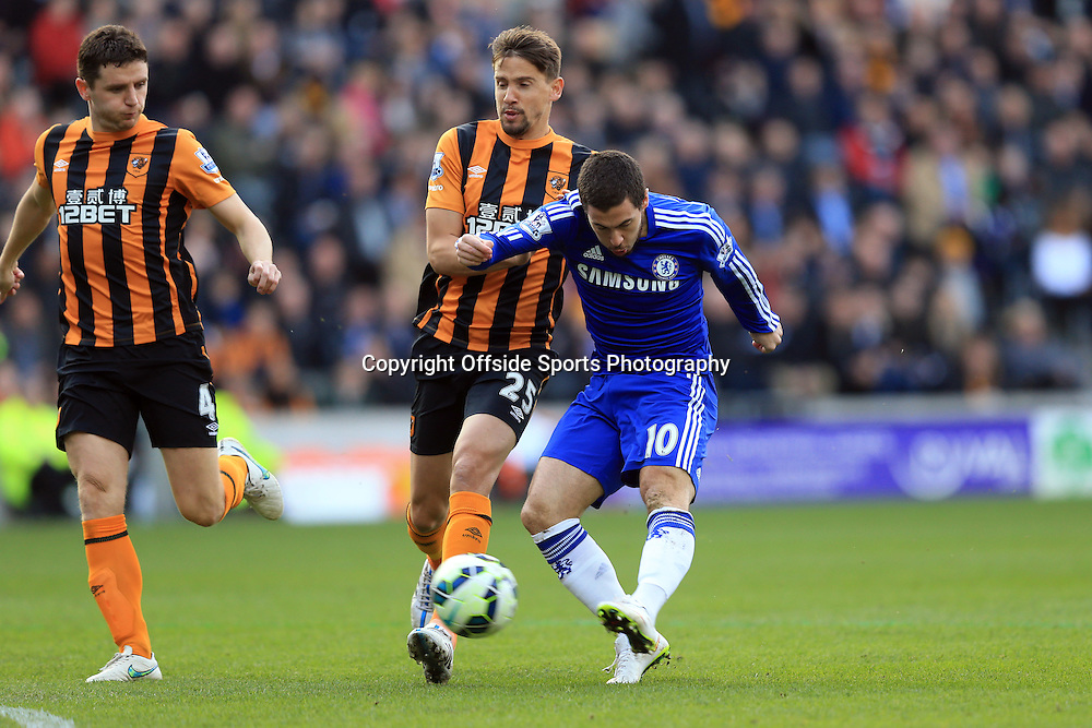 22 March 2015 - Barclays Premier League - Hull City v Chelsea - Eden Hazard of Chelsea scores the opening goal - Photo: Marc Atkins / Offside.