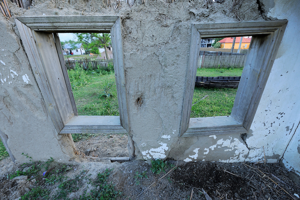 Land abandonment results - houses in Sfinthu Gheorghe, Danube delta rewilding area, Romania