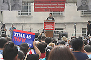 Brooklyn, NY Oct. 5, 2013. Steven Choi, executive director, New York Immigration Coalition moderated the rally for immigration reform in Cadman Plaza. 10052013. Photo by Kayle Hope Schnell/NYCity Photo Wire.