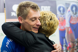 Sonja Gole (R) and Tomaz Nose, rider of KK Adria Mobil when he retires as a professional cycling athlete, on November 6, 2014 in Cesca vas, Novo mesto. Foto: Vid Ponikvar / Sportida