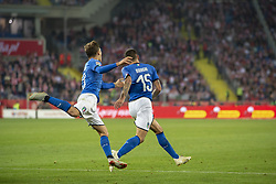 October 14, 2018 - Chorzow, Poland - Cristiano Biraghi and Nicolo Barella of Italy celebrate scoring during the UEFA Nations League A match between Poland and Italy at Silesian Stadium in Chorzow, Poland on October 14, 2018  (Credit Image: © Andrew Surma/NurPhoto via ZUMA Press)