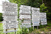 Dozens of cabin signs in the Northwoods of Wisconsin