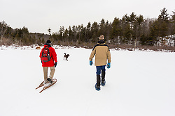 Two men and two dogs walk on Round Pond in winter. Barrington, New Hampshire.