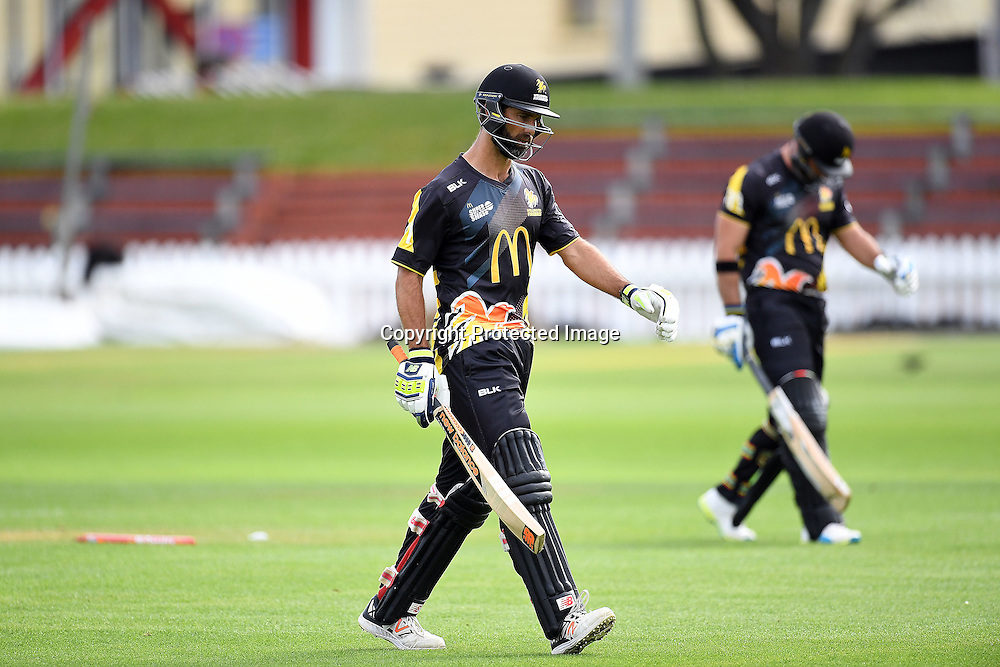 Luke Woodcock and Grant Elliott walk back after the tie during the McDonald's Super Smash, Wellington Firebirds vs Otago Volts, Basin Reserve, Wellington, Tuesday 03rd January 2017. Copyright Photo: Raghavan Venugopal / www.photosport.nz