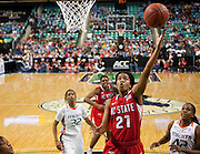 North Carolina State's Brittany Strachan sores two of her 17 points as the Wolfpack fell short loosing to Miami 92 - 85 during the second round of the 2011 ACC Women's Basketball Tournament held at the Greensboro Coliseum in Greensboro, North Carolina.  (Photo by Mark W. Sutton)