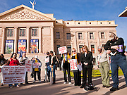 09 JANUARY 2012 - PHOENIX, AZ:   Tea Party members and conservatives pray in front of at the capitol Monday. Gov Brewer delivered her State of the State inside while outside representatives of interest groups picketed and protested.   The Arizona legislature started its 2012 session and Gov. Jan Brewer delivered her State of the State Monday, Jan 9.                   PHOTO BY JACK KURTZ