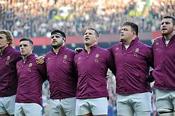 George Ford, Rob Webber, Dylan Hartley, David Wilson and Ben Morgan of England sing the national anthem - Photo mandatory by-line: Patrick Khachfe/JMP - Mobile: 07966 386802 29/11/2014 - SPORT - RUGBY UNION - London - Twickenham Stadium - England v Australia - QBE Internationals