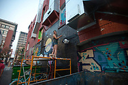 Samantha Headley works on her mural in the evening of August 5, 2017. Headley was participating in the Freak Alley Gallery seventh annual mural event in downtown Boise, Idaho.<br /> <br /> Freak Alley Gallery's week long event provided an &quot;art-in-motion&quot; experience as it welcomed the public to watch artists work on their murals.
