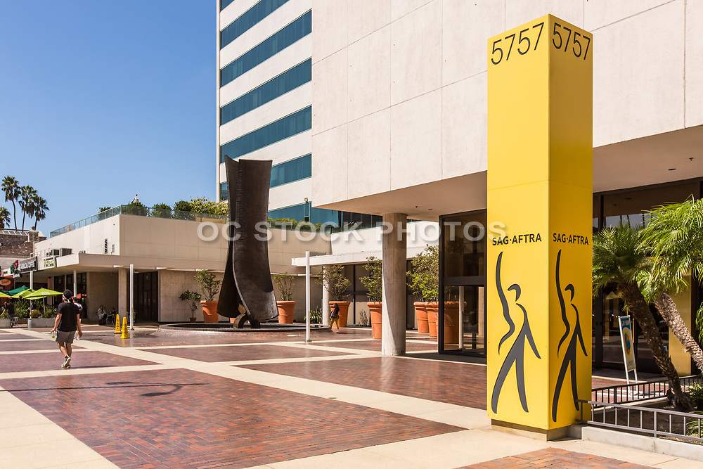 Water Fountain Sculpture at SAG-AFTRA Plaza on Wilshire Blvd Los Angeles