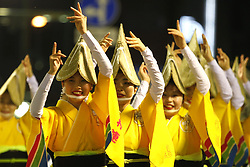 August 13, 2017 - Tokushima - Participants dance as the Awa Odori dance festival begins on August 12, 2017 in Tokushima, Japan. (Credit Image: © Hitoshi Yamada/NurPhoto via ZUMA Press)