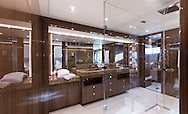An interior shot of the owner's bathroom suite aboard the Sunseeker 131 at the London Boat Show 2016, the largest vessel ever to attend the show.<br /> Picture date: Friday January 8, 2016.<br /> Photograph by Christopher Ison &copy;<br /> 07544044177<br /> chris@christopherison.com<br /> www.christopherison.com