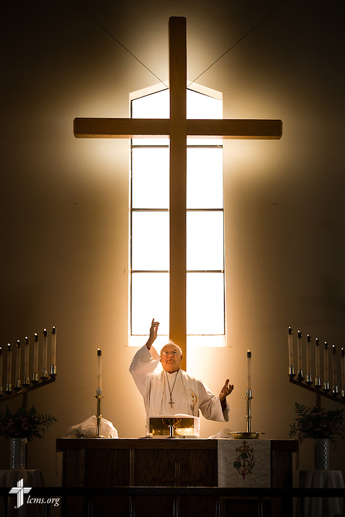 The Rev. Karl Heimer, pastor of San Pablo Lutheran Church and president of Ysleta Lutheran Mission Human Care, leads worship at the church on Sunday, May 22, 2016, on the YLM campus in El Paso, Texas. LCMS Communications/Erik M. Lunsford