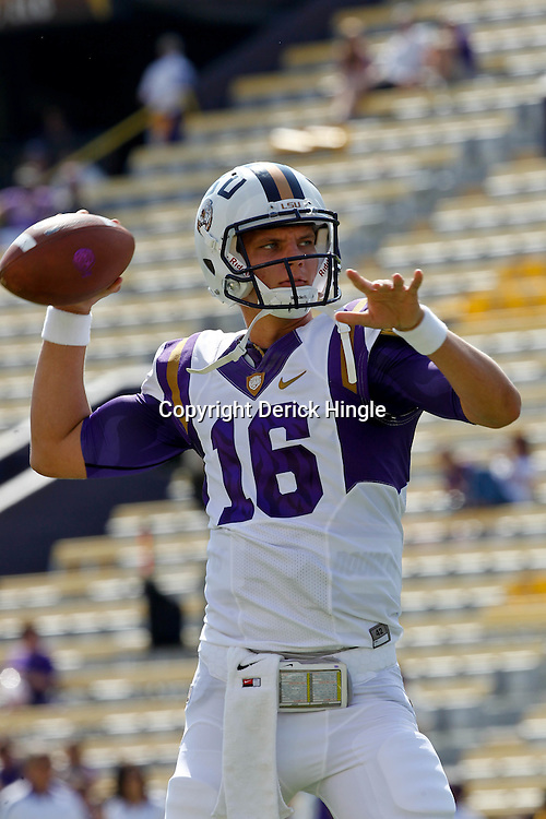 October 22, 2011; Baton Rouge, LA, USA; LSU Tigers quarterback Stephen Rivers (16) prior to kickoff of a game against the Auburn Tigers at Tiger Stadium.  Mandatory Credit: Derick E. Hingle-US PRESSWIRE / © Derick E. Hingle 2011