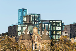 View of Quartermile luxury apartment property development adjacent to The Meadows public park in Edinburgh, Scotland, United Kingdom.