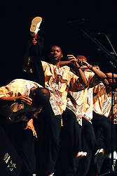 Feb. 16, 2014 - Emporia, Kansas, United States of America - Emporia, Kansas 2-16-2014.The a cappella vocal group ''Ladysmith Black Mambazo'' led by Mr. Shabala perfumes tonight at Albert Taylor Hall on the campus of Emporia State University. .Ladysmith Black Mambazo is a male choral group from South Africa that sings in the vocal styles of isicathamiya and mbube. They rose to worldwide prominence as a result of singing with Paul Simon on his album, Graceland, and have won multiple awards, including four Grammy Awards. They were formed by Joseph Shabalala in 1960 and later became one of South Africa's most prolific recording artists, with their releases receiving gold and platinum disc honors. The group has now become a mobile academy, teaching people about South Africa and its culture..Credit: Mark Reinstein (Credit Image: © Mark Reinstein/ZUMA Wire)