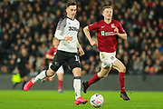 Derby County forward Tom Lawrence during the The FA Cup match between Derby County and Northampton Town at the Pride Park, Derby, England on 4 February 2020.
