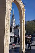 The scale replica of the 2,000 year-old Arch of Triumph in London's Trafalgar Square. The arch has been made from Egyptian marble by the Institute of Digital Archaeology (IDA) using 3D technology, based on photographs of the original arch. It will travel to cities around the world after leaving London.