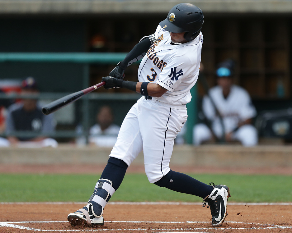 Charleston RiverDogs' infielder Wilkerman Garcia (3). <br /> Columbia Fireflies vs. Charleston RiverDogs at Joseph P. Riley Ballpark in Charleston, S.C. on Thursday, May 17, 2018. RiverDogs lose, 2-1. <br /> Zach Bland/Charleston RiverDogs