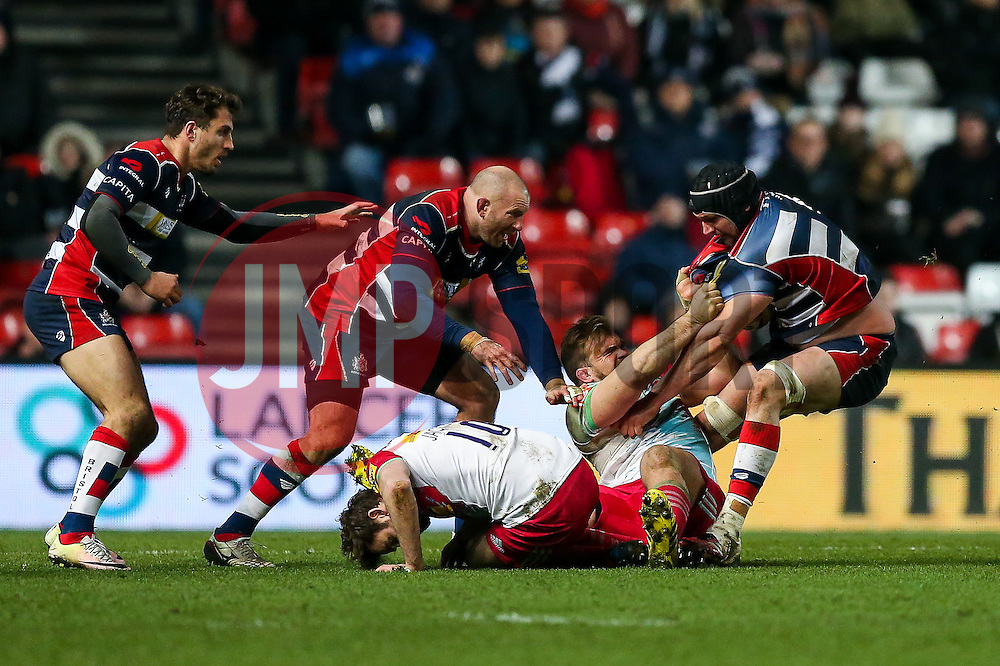 Dan Tuohy of Bristol Rugby is tackled - Rogan Thomson/JMP - 10/02/2017 - RUGBY UNION - Ashton Gate Stadium - Bristol, England - Bristol Rugby v Harlequins - Aviva Premiership.
