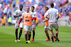 Wayne Rooney of Manchester United looks on during the warm up - Rogan Thomson/JMP - 07/08/2016 - FOOTBALL - Wembley Stadium - London, England - Leicester City v Manchester United - The FA Community Shield.