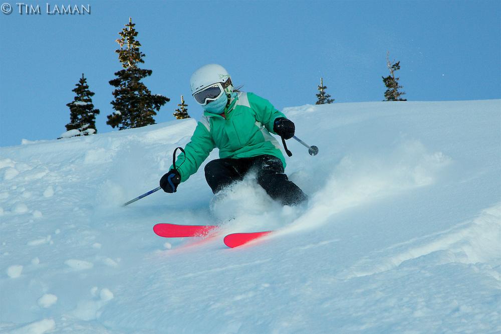 Jessica Laman (age 9) skiing fresh powder snow in Jackson Hole, Wyoming