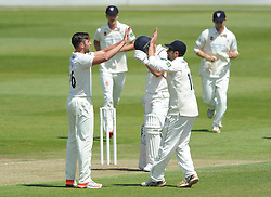 Matt Taylor of Gloucestershire celebrates with Jack Taylor of Gloucestershire as Aviro Petersen is out for LBW - Photo mandatory by-line: Dougie Allward/JMP - Mobile: 07966 386802 - 07/06/2015 - SPORT - Football - Bristol - County Ground - Gloucestershire Cricket v Lancashire Cricket - LV= County Championship