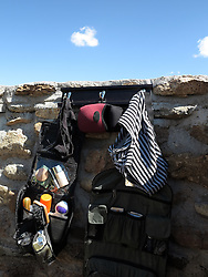NAMIBIA DAMARALAND SPITZKOPPE 24APR14 - Toiletry bags at an open-air shower at a  campsite at the Spitzkoppe National Park, Damaraland, Namibia.<br /> <br /> jre/Photo by Jiri Rezac<br /> <br /> © Jiri Rezac 2014