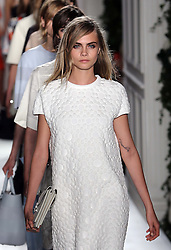 Cara Delevingne at the end of the Mulberry show at London Fashion Week  for Spring/Summer 2014 Sunday, 15th September 2013. Picture by Stephen Lock / i-Images
