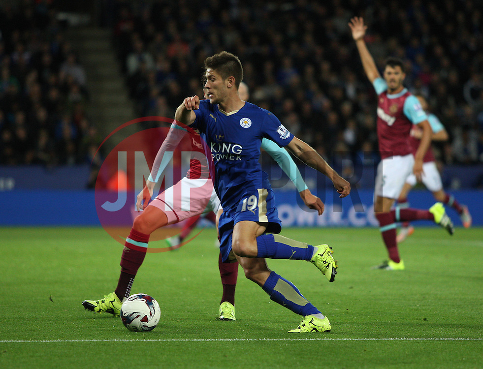 Andrej Kramaric of Leicester City (L) in action  - Mandatory byline: Jack Phillips/JMP - 07966386802 - 22/09/2015 - SPORT - FOOTBALL - Leicester - King Power Stadium - Leicester City v West Ham United - Capital One Cup Round 3
