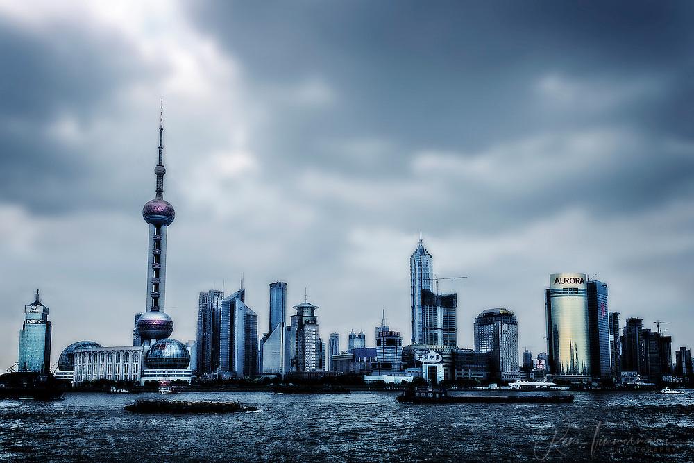 The skyline of Shanghai.