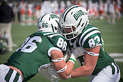 The Ohio University Bobcats do their pregame warmup before they take on Bowling Green during the homecoming matchup at Peden Stadium in Athens, Ohio on Saturday, October 8, 2016.