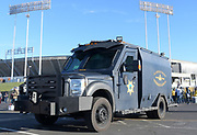 Dec 17, 2017; Oakland, CA, USA; Alameda County Sheriff's Office bomb squad truck outside of the Oakland-Alameda County Coliseum during an NFL football game between the Dallas Cowboys and the Oakland Raiders.