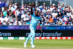 Jofra Archer of England celebrates taking the wicket of Martin Guptill of New Zealand - Mandatory by-line: Robbie Stephenson/JMP - 03/07/2019 - CRICKET - Emirates Riverside - Chester-le-Street, England - England v New Zealand - ICC Cricket World Cup 2019 - Group Stage
