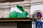 Green rabbit sculpture, Albertina, Vienna, Austria