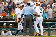 May 31, 2010: Detroit Tigers' Manager Jim Leyland, Umpire Laz Diaz and Detroit Tigers' Justin Verlander (35) during the MLB baseball game between the Oakland Athletics and Detroit Tigers at  Comerica Park in Detroit, Michigan. Oakland defeated Detroit 4-1.