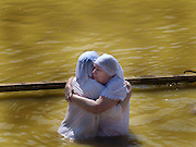 Baptizing ceremony at Qasr el Yahud, on the Jordan River, Israel