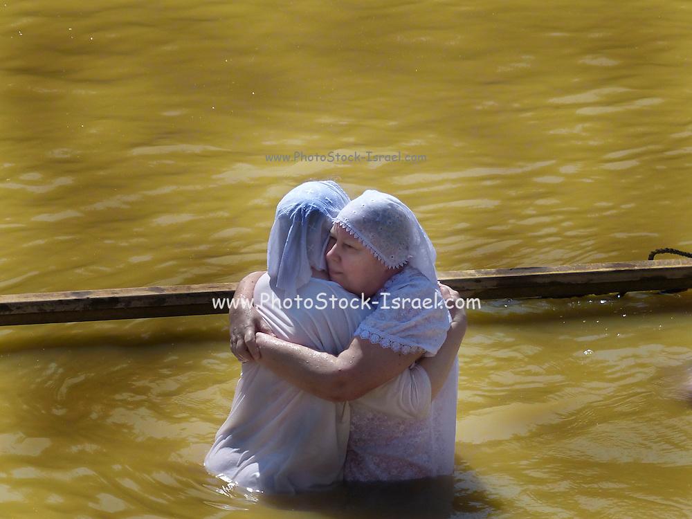 Baptizing ceremony at Qasr el Yahud, on the Jordan River, Israel