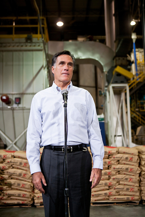Republican presidential candidate Mitt Romney holds a media availability after a town hall meeting at the Diamond V South Plant on Friday, December 9, 2011 in Cedar Rapids, IA.