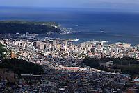 The view from the Tengu yama ropeway looking down over the city of Otaru, Hokkaido, Japan.