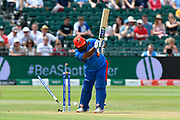 Wicket - Mohammad Shahzad (wk) of Afghanistan is bowled by Mitchell Starc of Australia during the ICC Cricket World Cup 2019 match between Afghanistan and Australia at the Bristol County Ground, Bristol, United Kingdom on 1 June 2019.