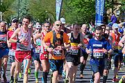 London. United Kingdom. 2014 London Marathon.  Narrow Street Limehouse, East London. Athletics 11:41:14  Sunday  13/04/2014  [Mandatory Credit; Peter SPURRIER/ Intersport Images],