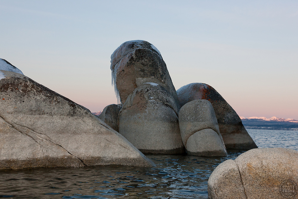 """Tahoe Boulders at Sunrise 19"" - These icy boulders were photographed from a kayak in the early morning at Sand Harbor, Lake Tahoe."