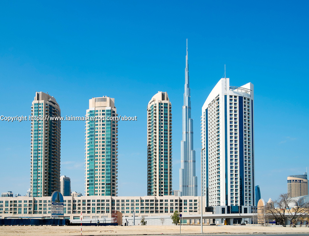 New high-rise apartment towers at new Business Bay commercial and residential area in Dubai United Arab Emirates