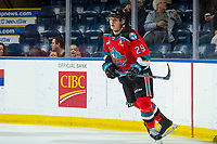 KELOWNA, BC - OCTOBER 12: Nolan Foote #29 of the Kelowna Rockets warms up on the ice against the Kamloops Blazers  at Prospera Place on October 12, 2019 in Kelowna, Canada. Foote was selected by the Tampa Bay LIghtning in the 2019 NHL entry draft. (Photo by Marissa Baecker/Shoot the Breeze)